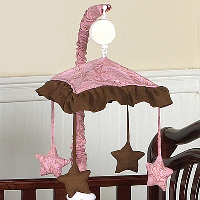 Pink and Brown Paisley Girls Musical Crib Mobile - Click to enlarge