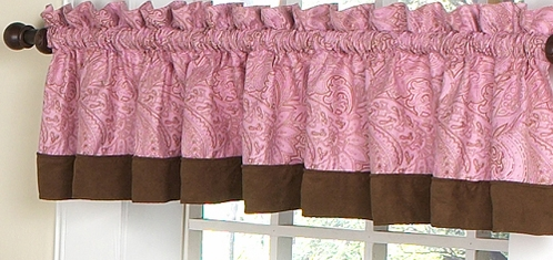 Pink and Brown Paisley Girls Window Valance - Click to enlarge