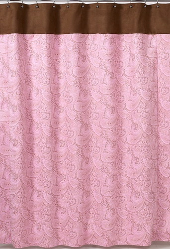 Pink And Brown Paisley Kids Bathroom Fabric Bath Shower Curtain Only