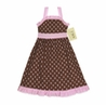Pink and Brown Polka Dot Baby Dress by Sweet Jojo Designs