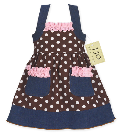 Pink and Brown Polka Dot Blue Jean Baby Girls Dress by Sweet Jojo Designs - Click to enlarge