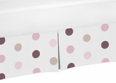Pink and Brown Polka Dot Crib Bed Skirt for Mod Dots Baby Bedding Sets by Sweet Jojo Designs