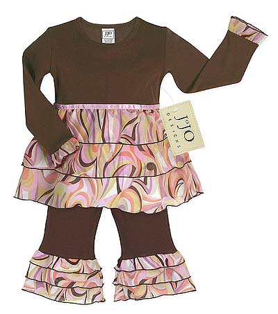 Pink and Brown Swirl Rumba Baby Girls 2pc Outfit by Sweet Jojo Designs - Click to enlarge