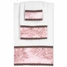 Pink and Brown Toile and Polka Dot Baby and Kids Cotton Bath Towel Set - 3pc Set