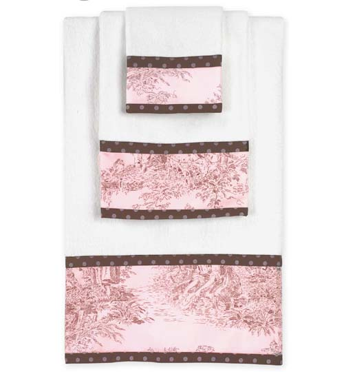 Pink And Brown Toile And Polka Dot Baby And Kids Cotton Bath Towel Set    3pc Set Only $34.99