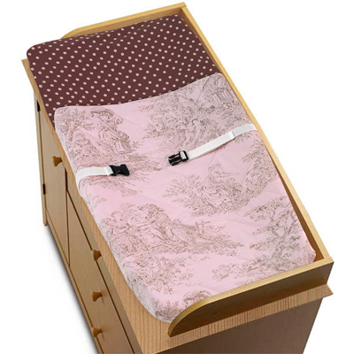 Pink and Brown Toile and Polka Dot Changing Pad Cover by Sweet Jojo Designs - Click to enlarge