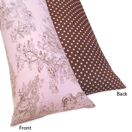 Pink and Brown Toile and Polka Dot Full Length Double Zippered Body Pillow Case Cover by Sweet Jojo Designs - Click to enlarge