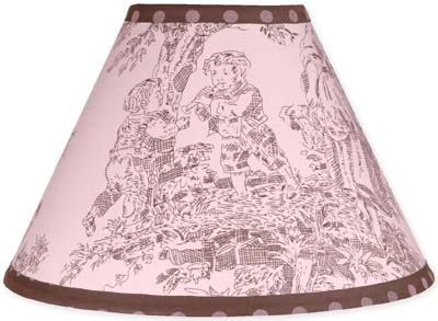 Pink and Brown Toile and Polka Dot Girls Lamp Shade by Sweet Jojo Designs - Click to enlarge