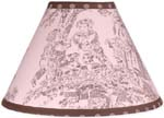 Pink and Brown Toile and Polka Dot Girls Lamp Shade by Sweet Jojo Designs