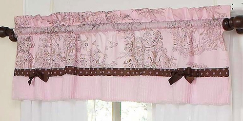 Pink and Brown Toile and Polka Dot Girls Window Valance by Sweet Jojo Designs - Click to enlarge