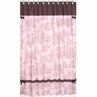 Pink and Brown Toile and Polka Dot Kids Bathroom Fabric Bath Shower Curtain