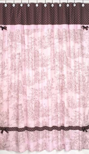 Pink And Brown Toile And Polka Dot Kids Bathroom Fabric Bath Shower Curtain    Click To