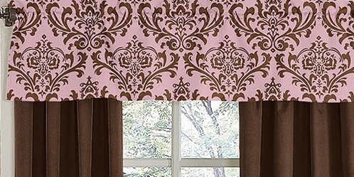 Pink and Chocolate Nicole�Window Valance by Sweet Jojo Designs - Click to enlarge