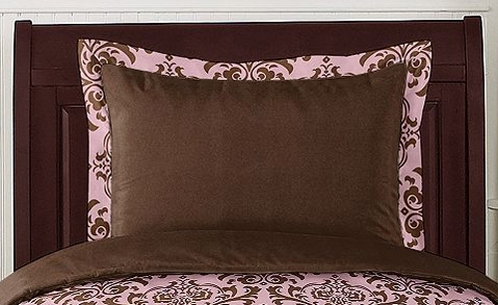 Pink and Chocolate Nicole Pillow Sham by Sweet Jojo Designs - Click to enlarge