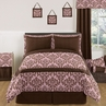 Pink and Chocolate Nicole Childrens, Kids, Teen Bedding - 3pc Full / Queen Set by Sweet Jojo Designs
