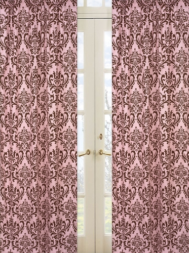 Pink and Chocolate Nicole Damask Window Treatment Panels by Sweet Jojo Designs - Set of 2 - Click to enlarge