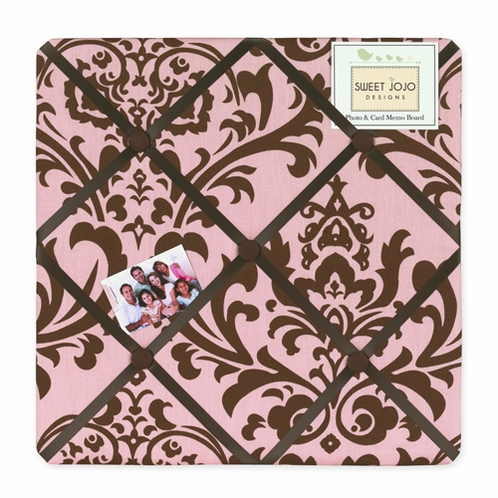 Pink and Chocolate Nicole Fabric Memory/Memo Photo Bulletin Board by Sweet Jojo Designs - Click to enlarge