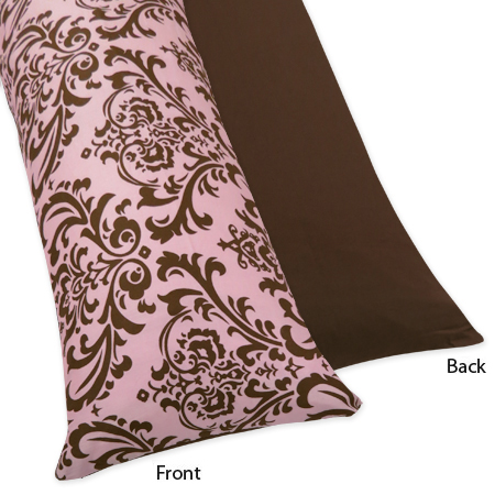 Pink and Chocolate Nicole Full Length Double Zippered Body Pillow Case Cover by Sweet Jojo Designs - Click to enlarge