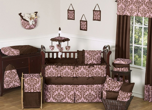 Pink and Chocolate Nicole Girl Baby Bedding - 9 pc Crib Set - Click to enlarge