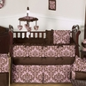 Pink and Chocolate Nicole Girl Baby Bedding - 9 pc Crib Set