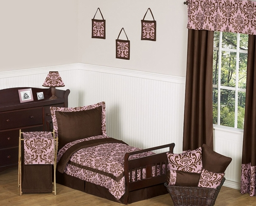 Pink and Chocolate Nicole Girl Toddler Bedding - 5pc Set by Sweet Jojo Designs - Click to enlarge
