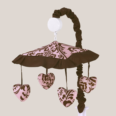 Pink and Chocolate Nicole Musical Baby Crib Mobile by Sweet Jojo Designs - Click to enlarge