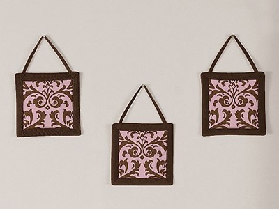 Pink and Chocolate Nicole Wall Hanging Accessories by Sweet Jojo Designs - Click to enlarge