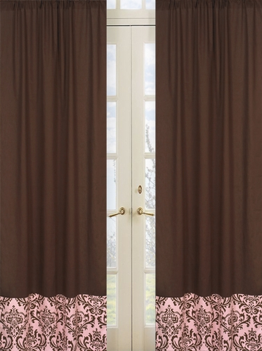 Pink and Chocolate Nicole Window Treatment Panels by Sweet Jojo Designs - Set of 2 - Click to enlarge