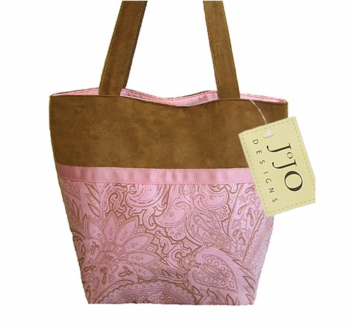 Pink and Chocolate Paisley Microsuede Handbag/Tote Bag - Click to enlarge