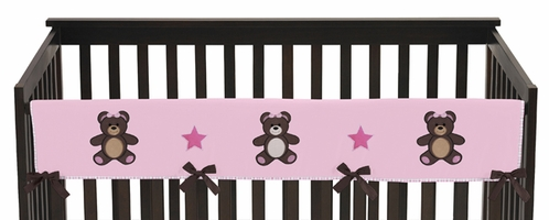 Pink and Chocolate Teddy Bear Baby Crib Long Rail Guard Cover by Sweet Jojo Designs - Click to enlarge