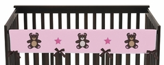Pink and Chocolate Teddy Bear Baby Crib Long Rail Guard Cover by Sweet Jojo Designs