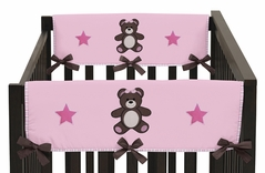 Pink and Chocolate Teddy Bear Baby Crib Side Rail Guard Covers by Sweet Jojo Designs - Set of 2