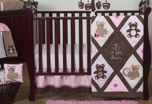 Pink and Chocolate Teddy Bear Baby Girls Bedding - 11pc Crib Set - Click to enlarge