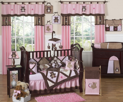 Pink and Chocolate Teddy Bear Baby Girls Bedding - 9pc Crib Set - Click to enlarge