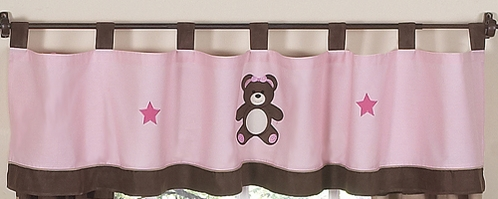 Pink and Chocolate Teddy Bear Girls Window Valance by Sweet Jojo Designs - Click to enlarge