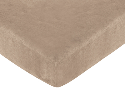 Pink and Chocolate Teddy Bear Fitted Crib Sheet for Baby and Toddler Bedding Sets by Sweet Jojo Designs - Camel Microsuede - Click to enlarge