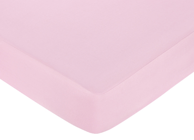 Pink and Chocolate Teddy Bear Fitted Crib Sheet for Baby and Toddler Bedding Sets by Sweet Jojo Designs - Solid Pink - Click to enlarge