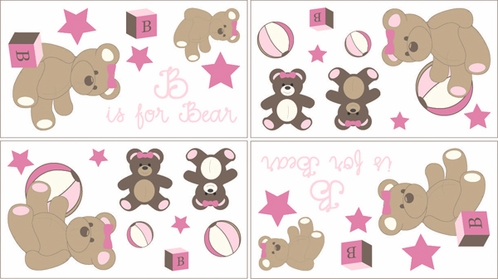 Pink and Chocolate Teddy Bear Girls Baby and Kids Wall Decal Stickers - Set of 4 Sheets - Click to enlarge