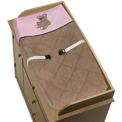 Pink and Chocolate Teddy Bear Girls Changing Pad Cover - Click to enlarge