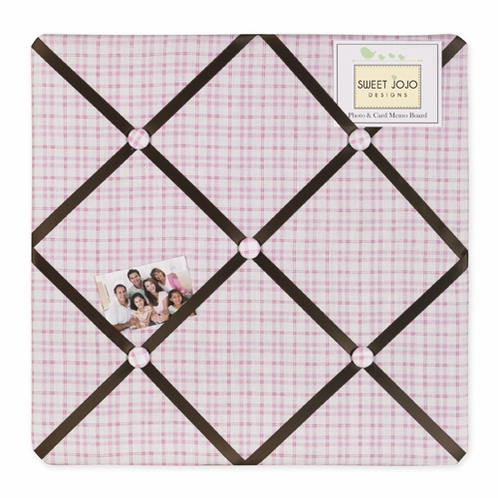 Pink and Chocolate Teddy Bear Girls Fabric Memory/Memo Photo Bulletin Board - Click to enlarge
