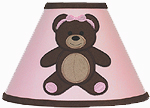 Pink and Chocolate Teddy Bear Girls Lamp Shade by Sweet Jojo Designs