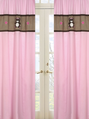 Pink and Chocolate Teddy Bear Girls Window Treatment Panels - Set of 2 - Click to enlarge
