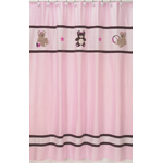 Pink and Chocolate Teddy Bear Kids Bathroom Fabric Bath Shower Curtain