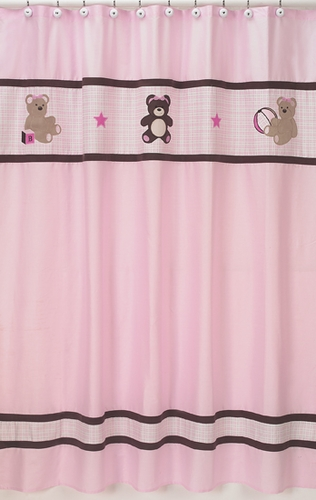 Pink and Chocolate Teddy Bear Kids Bathroom Fabric Bath Shower Curtain - Click to enlarge