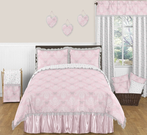 pink and gray alexa butterfly 3pc full queen girls bedding set by sweet jojo designs only. Black Bedroom Furniture Sets. Home Design Ideas
