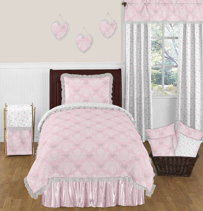 pink and gray alexa butterfly 4pc twin girls bedding set by sweet jojo designs - Toddler Girl Bedding