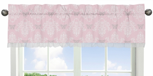 Pink and Gray Alexa Butterfly Collection Window Valance by Sweet Jojo Designs - Click to enlarge