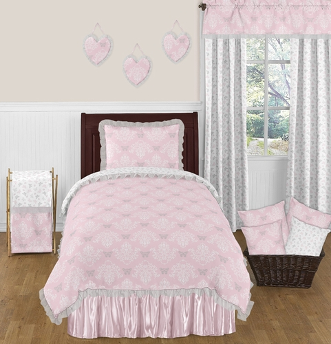 pink and gray alexa butterfly 4pc twin girls bedding set by sweet jojo designs only. Black Bedroom Furniture Sets. Home Design Ideas