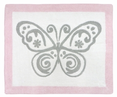 Pink and Gray Alexa Butterfly Accent Floor Rug by Sweet Jojo Designs