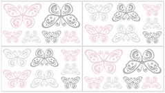 Pink and Gray Alexa Butterfly Baby and Kids Wall Decal Stickers - Set of 4 Sheets